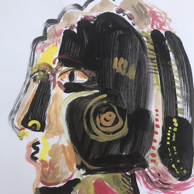 Contemporary Original Contemporary Abstract Pop Art Portrait Painting Signed For Sale - Image 3 of 6