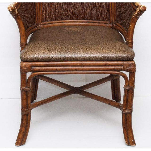 Vintage Chippendale Style Bamboo & Leather Chair - Image 8 of 9
