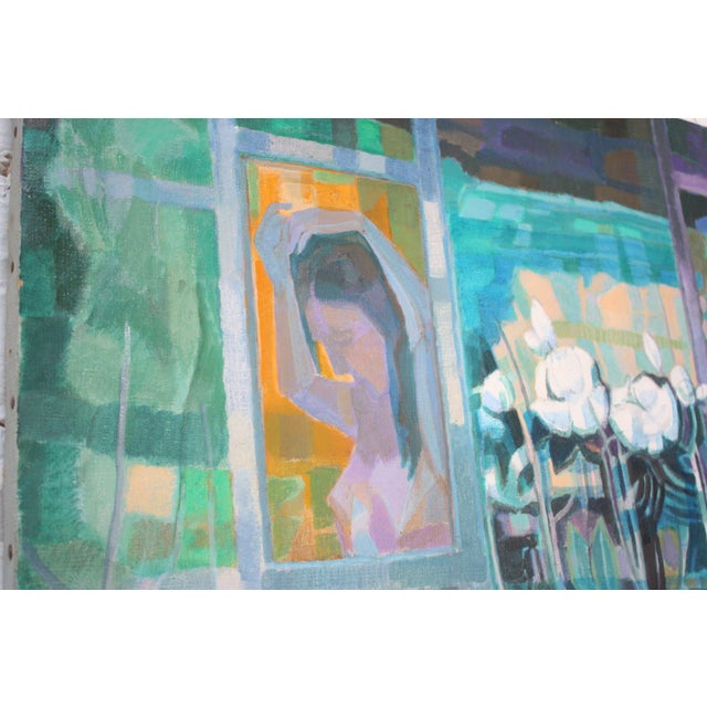 Figurative 'Woman With Flowers' Acrylic on Canvas by Peppino Mangravite For Sale - Image 3 of 12