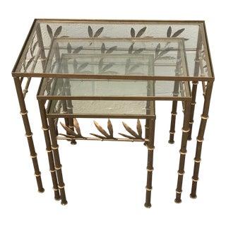 1960s Italian Brass Nesting Tables - Set of 3 For Sale