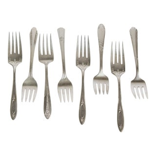 Vintage Silverplate Salad Forks- Set of 8
