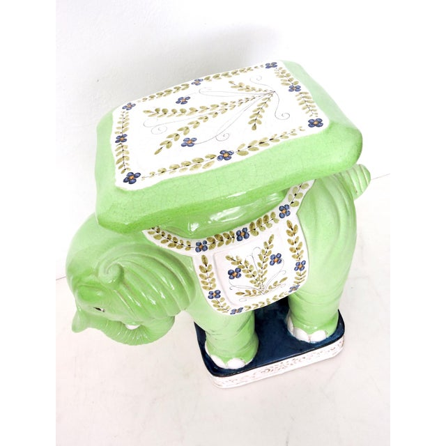 Large Lime Green Italian Elephant Garden Seat/Stool/Side Table For Sale In Tampa - Image 6 of 7