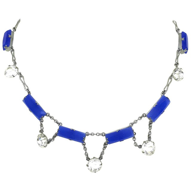 Deco Era Chalcedony Glass and Crystal Choker Length Necklace For Sale In Los Angeles - Image 6 of 6