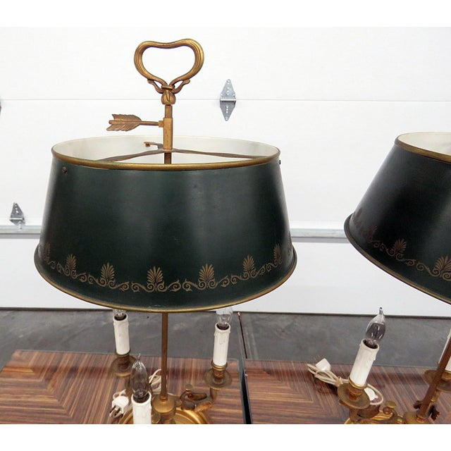 Empire Empire Style 3 Arm Bouillotte Lamps - a Pair For Sale - Image 3 of 6