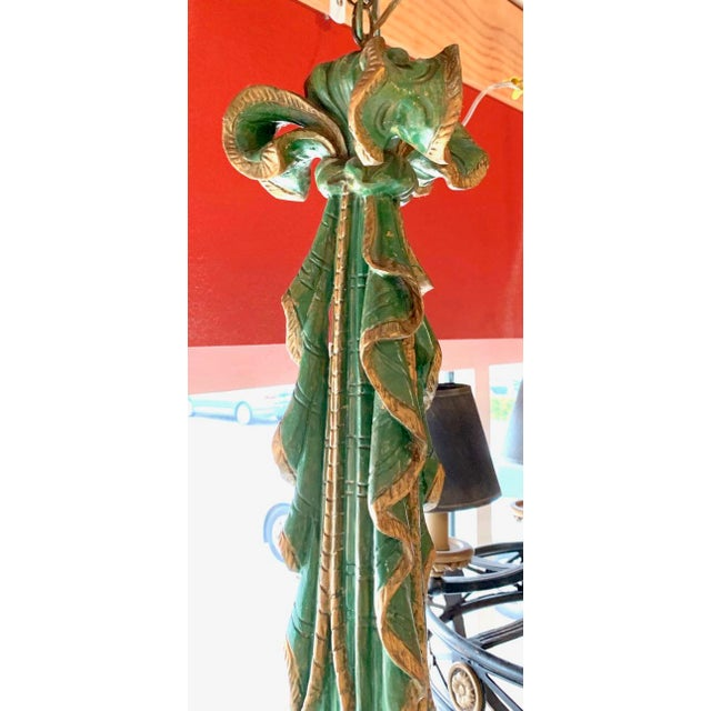Wood Mid 20th Century Vintage Italian Chandelier Hand Carved Wood For Sale - Image 7 of 10