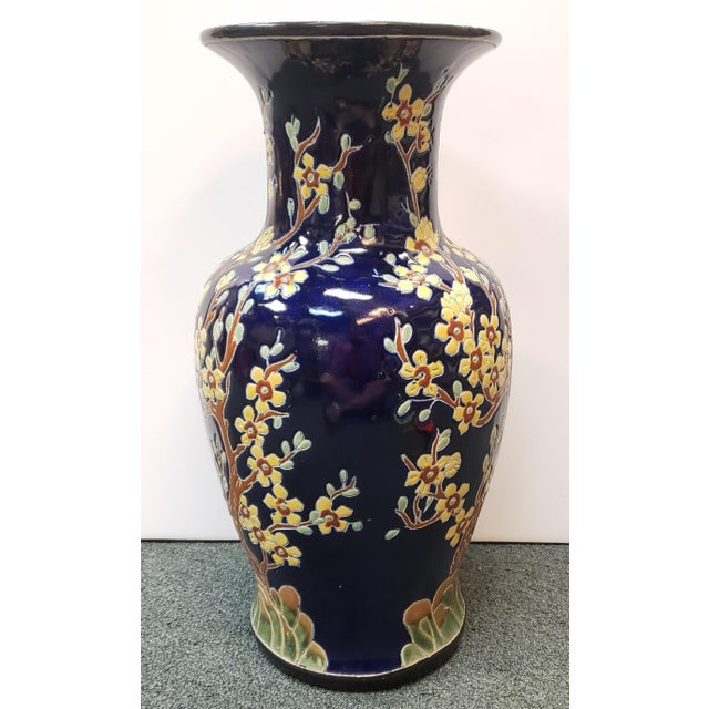 Circa 1880 French Longwy Style Pottery Enameled Yellow Cherry Blossom Motifs Baluster Vase For Sale In New Orleans - Image 6 of 9