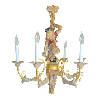 Mid 20th Century Italian Carved Wood Monkey Chandelier, Six Arm For Sale