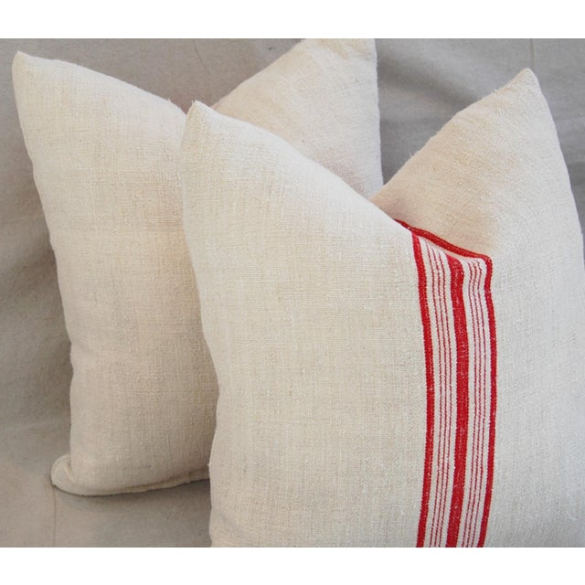 Red Stripe French Grain Sack Pillows - Pair - Image 8 of 11