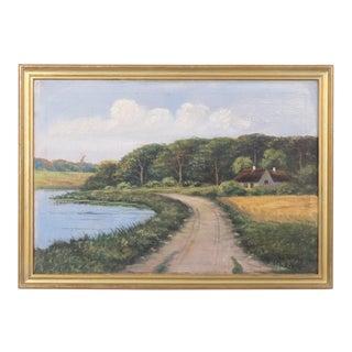 Mid-Century Rural Pond Landscape For Sale
