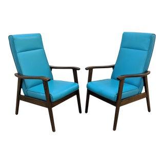 Mid Century Modern Naugahyde High Back Walnut Arm Chairs - a Pair For Sale