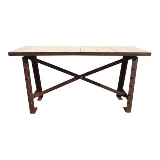 Industrial Metal & Wood Console Table For Sale