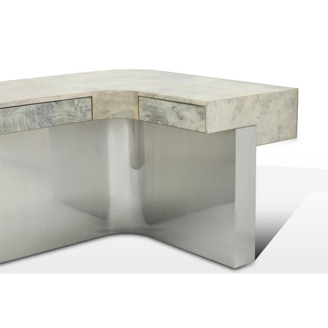 BRIONI DESK (Gray Parchment & Stainless Steel) by Sylvan S.F. Materials : Parchment, Stainless Steel, Mahogany Color :...