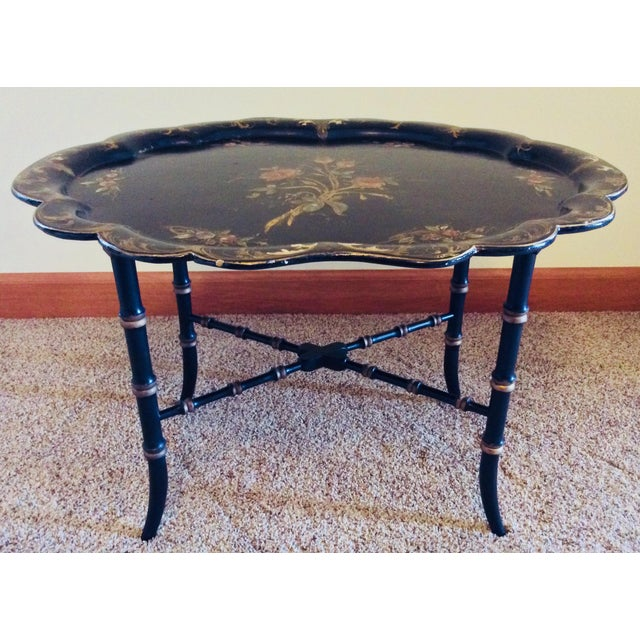 Black Late 19th Century Antique Chinoiserie Faux Bamboo Paper Mache Table With Mother of Pearl Inlay After Jennens and Betridge For Sale - Image 8 of 11