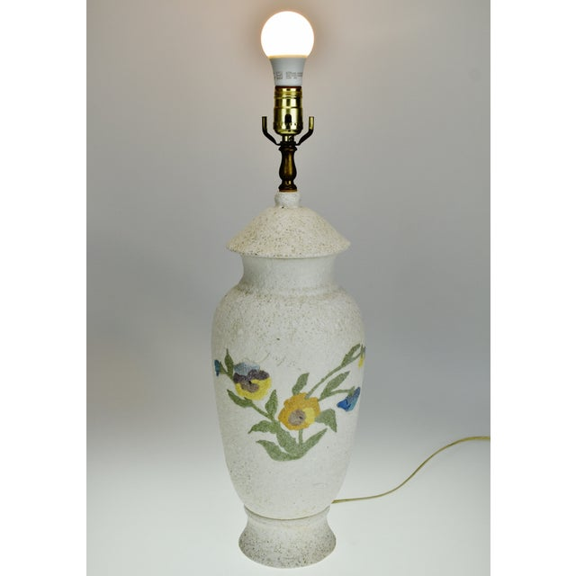 Vintage Large Textured Pottery Table Lamp For Sale - Image 11 of 13