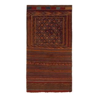 1950s Mid-Century Vintage Kilim Rug Orange Brown Tribal Pattern For Sale