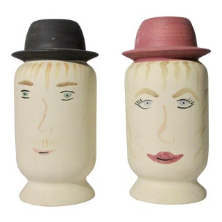 Mr. And Mrs. Ceramic Jars With Handpainted Faces - a Pair For Sale