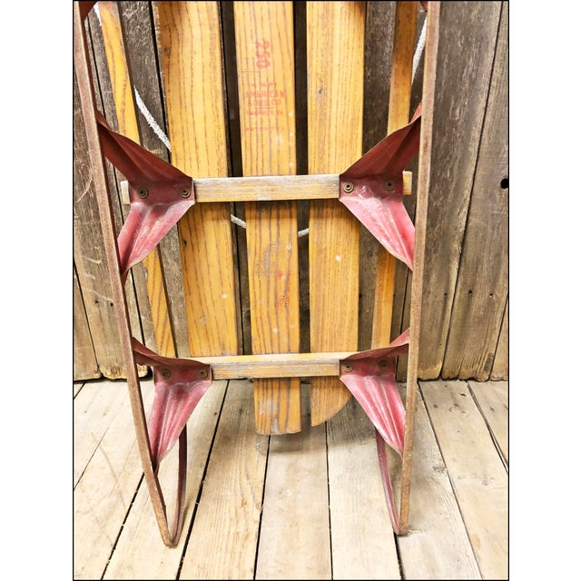 Wood Vintage Weathered Wood & Metal Runner Sled -- Rocket Plane For Sale - Image 7 of 10