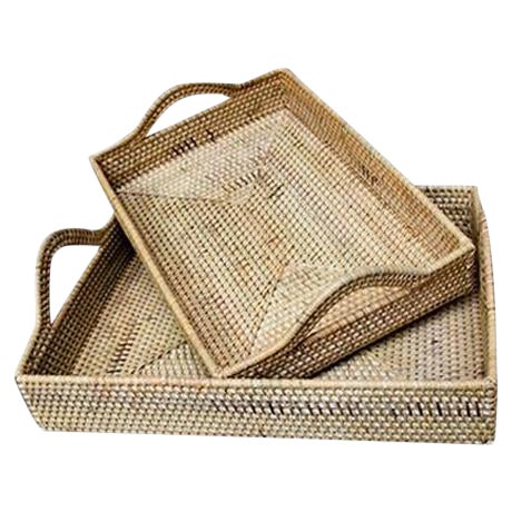 Rattan Handled Tray Set - A Pair For Sale