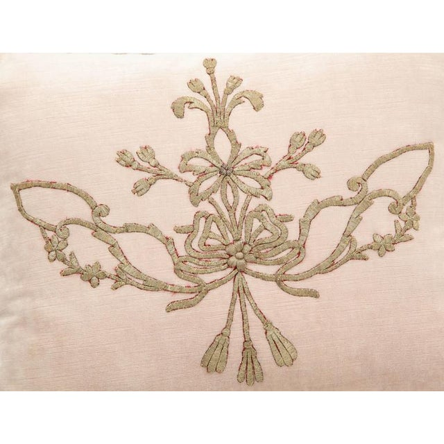 Fabric Early 21st Century Vintage Pillow With Antique Embroidery For Sale - Image 7 of 9