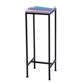 Contemporary Ellsworth Acrylic Drinks Table – Base: European Blue, Top: Intersection Bright Blue/Purple/Navy For Sale