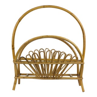 1960s Boho Chic Rattan Fan Magazine Rack For Sale