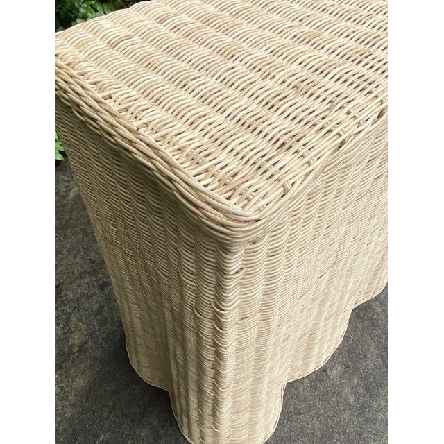 Wicker Natural Rattan Trompe l'Oeil Console Table For Sale - Image 7 of 13