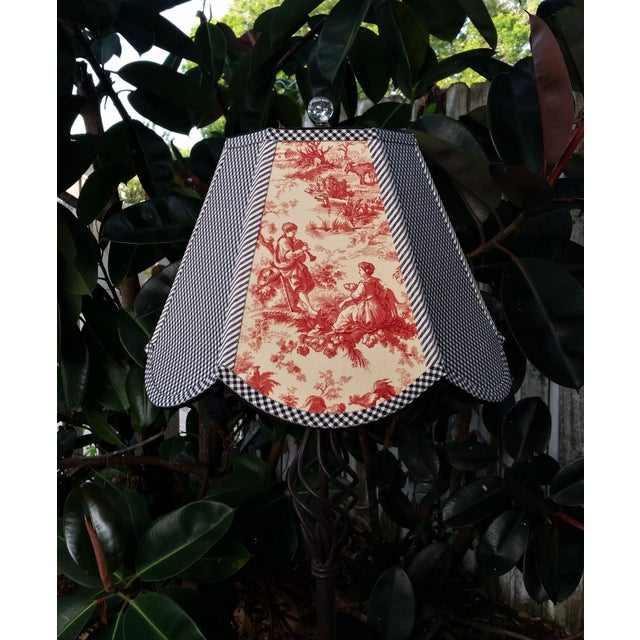Boho Chic Red Toile Lampshade Black White Gingham For Sale - Image 3 of 11