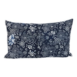 Chinese Indigo Batik Foo Dogs Patchwork Pillow For Sale
