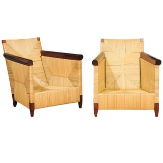 Superb Pair of Mahogany and Wicker Loungers by John Hutton for Donghia For Sale