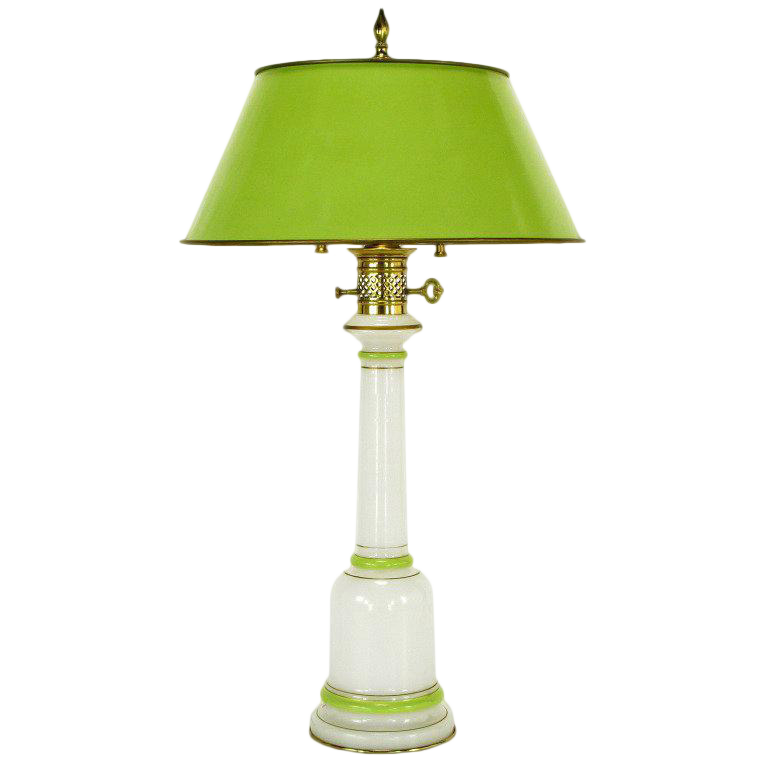 Superb Warren Kessler Empire Style Table Lamp Of Jade Green And