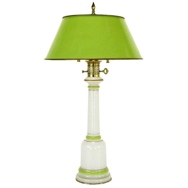 Warren Kessler Empire-Style Table Lamp of Jade Green and White Milk Glass For Sale
