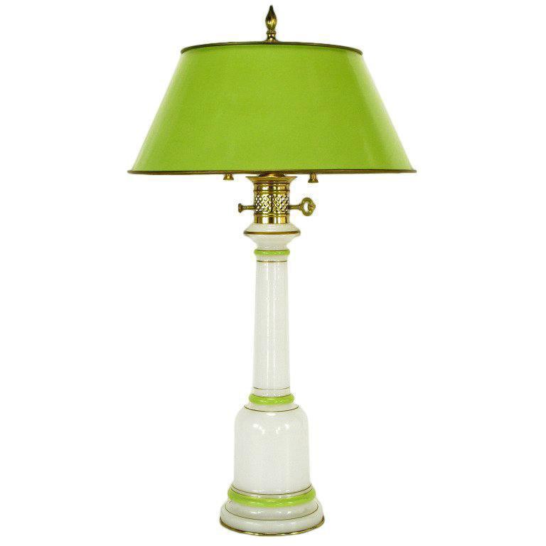 Warren Kessler Empire Style Table Lamp Of Jade Green And White Milk Glass    Image