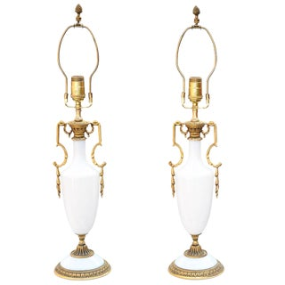 Pair of Opaline Lamps For Sale