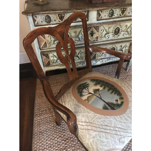 18th Century Vintage Walnut Italian Open Back Armchair For Sale - Image 11 of 13