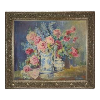 1940s Floral Still Life Painting, Framed For Sale