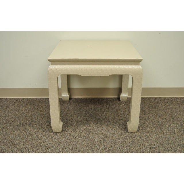 Vintage Baker Asian Lacquered Grasscloth Occasional Side Accent Table James Mont For Sale - Image 10 of 11