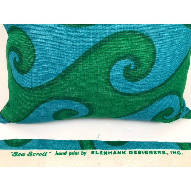Vintage Blue and Green Sea Scroll Pattern Pillows Hand Printed by Elenhank - a Pair For Sale - Image 10 of 12