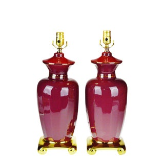 Vintage Asian Style Burgundy Porcelain Table Lamps - a Pair For Sale