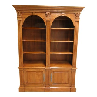 Ethan Allen Legacy Bookcase Shelf Display Double Arch Hutch For Sale