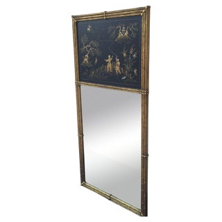 Gold Bamboo Chinoiserie Trumeau Mirror