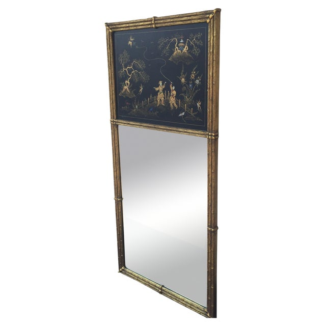 Gold Bamboo Chinoiserie Trumeau Mirror - Image 1 of 9