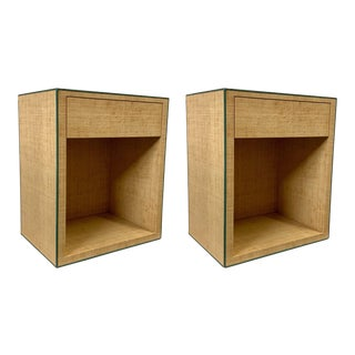 Pair of Modern Karl Springer Style Lacquered Grasscloth Nightstands Tables For Sale