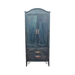 1960s Vintage Boho Chic Faux Bamboo Cabinet For Sale