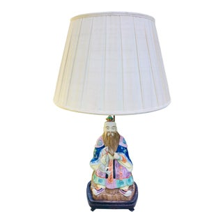 Chinoiserie Hollywood Regency Porcelain Figure Lamp with Pleated Shade For Sale