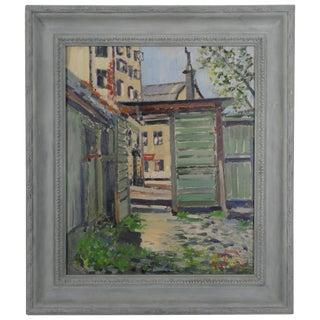 """1952 J. Johanssson """"Stockholm Bastucat 7"""" Framed Painting For Sale"""