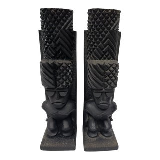 Vintage Tiki Coco Joe Mid Century Modern Bookends - a Pair For Sale