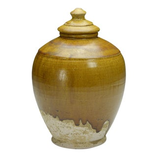 Antique Asian Amber Glazed Lidded Jar