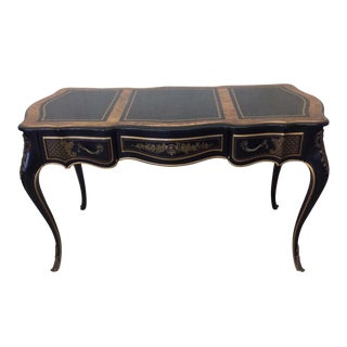 Drexel Louis XVI Era Black Leather Top Writing Desk