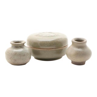 Early 19th Century Early Asian Celadon Vases, and Seal Paste Box - Set of 3 For Sale