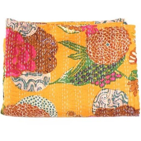 Yellow Floral Kantha Throw - Full - Image 1 of 2